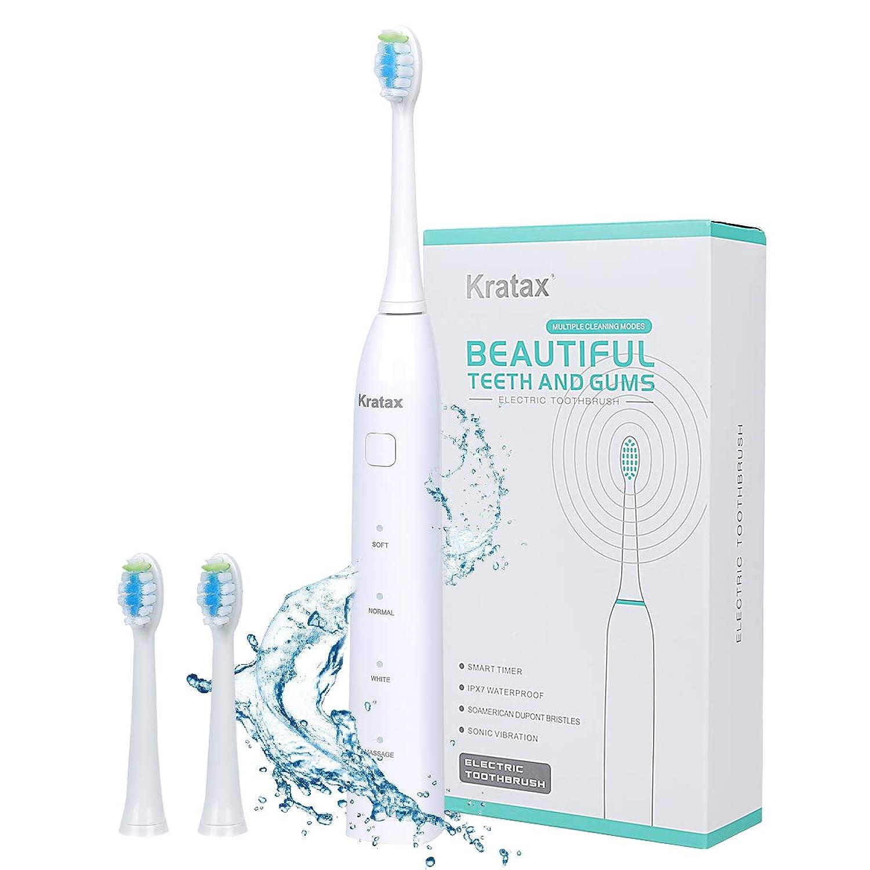 電動歯ブラシ 歯ブラシ Kratax 音波歯ブラシ 充電式 ソニック IPX7防水 4時間がかかって30日に使用 五つモードと2分オートタイマー機能搭載 USB充電 ブラシヘッド2本 磨きブラシ 口内ケア 携帯 歯磨き