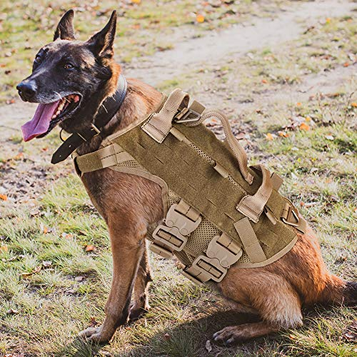 PETAC GEAR Tactical Dog Harness K9 Working Dog Vest Military Dog Training Harness Police Service Dog Vest for Hunting Walking Hiking Coyote Brown L