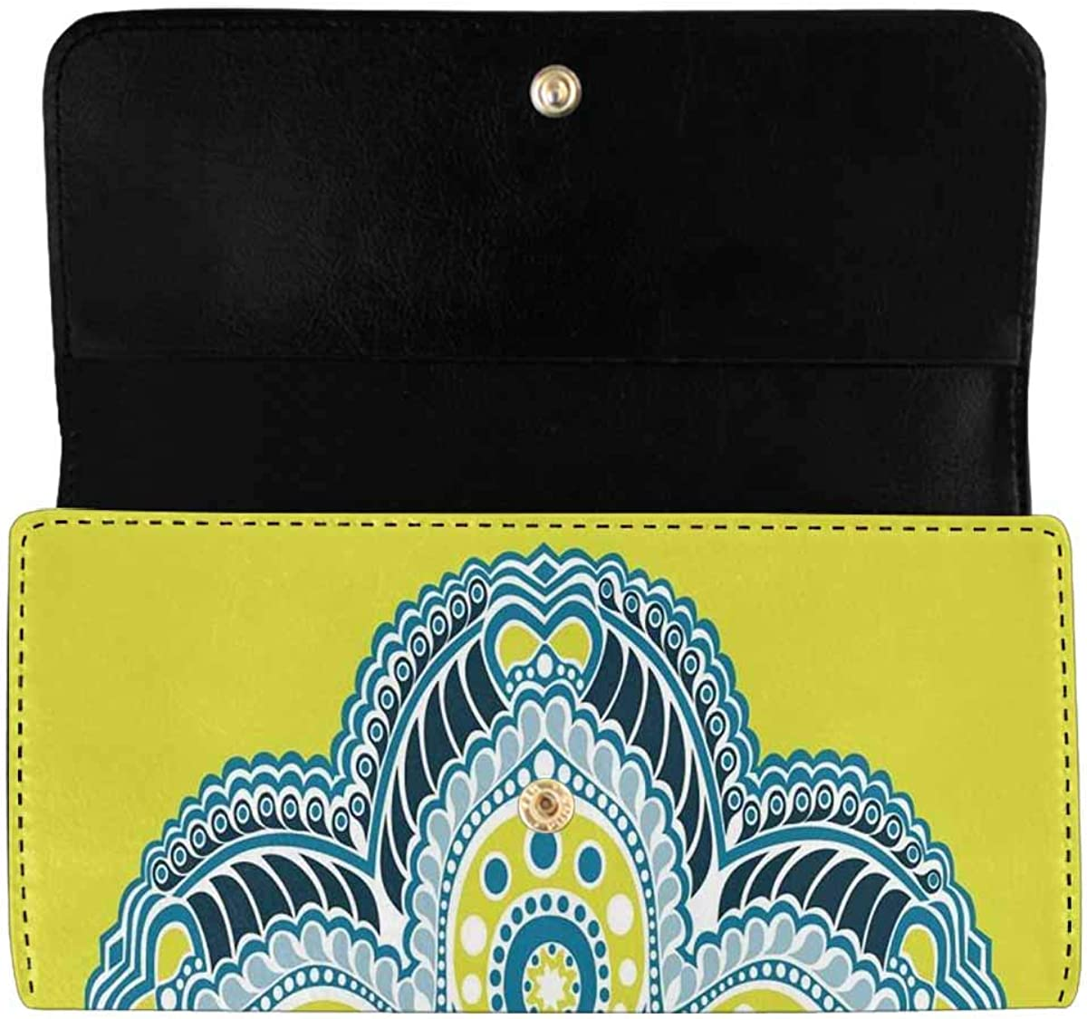 INTERESTPRINT Women's Long Clutch Wallets Floral Mandala Pattern Trifold Card Holder Purses