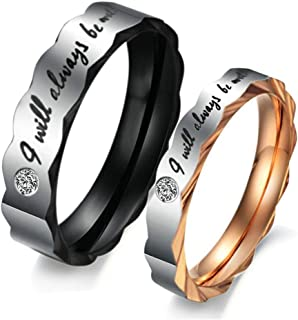 Bishilin Stainless Steel Wedding Band Couple Ring I Will Always Be With You with Cubic Zirconia Women Size 7 & Men Size 10
