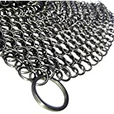 Cast Iron Cleaner and Scrubber by Küche Chef. XL 8x8 Inch Premium 316 Stainless Steel Chainmail Scrubber