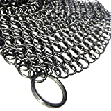 Cast Iron Cleaner and Scrubber by Küche Chef. XL 8x8 Inch Premium 316 Stainless Steel Chainmail...