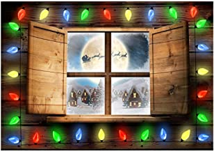 Funnytree 7x5ft Christmas Window Backdrop Winter Xmas Santa Sleigh Rustic Wood Party Background Colorful Forest Snow Family Photography Banner Decoration Portrait Photobooth Photo Studio Props