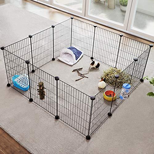 SONGMICS Verstellbares Laufgitter für Kleintiere und Meerschweinchen inkl Gummihammer Gittergehege für Innen individuell zusammenbaubar 143 x 73 x 36 cm (B x H x T) schwarz LPI01H - 3