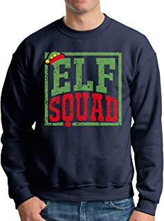 Funny Christmas Elf Squad Printed Men's Long Sleeve O-Neck Black Hoodie