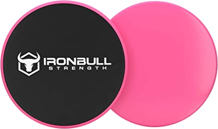 Iron Bull Strength Power Gliderz - Core Sliders Gliding Discs - Exercise Sliders are Dual Sided for Use on Carpet or Hardwood Floors - Abdominal Exercise Equipment
