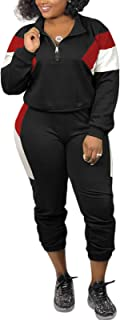 IyMoo Women's Plus Size Tracksuit Two Piece Outfits Long Sleeve Sweatshirt & Skinny Pants Sweat Suits Sets Color Block
