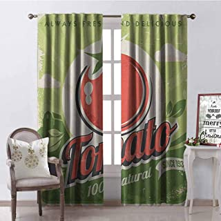 Vintage 99% Blackout Curtains Vintage Tomato Poster with an Antique Paper Print in Contemporary Graphic Design for Bedroom- Kindergarten- Living Room W42 x L90 Inch Green Red