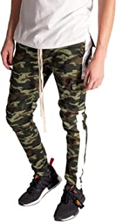 Kayden K Men's Olive Camo Tapered Skinny Fit Striped Cargo Pants with Ankle Zipper