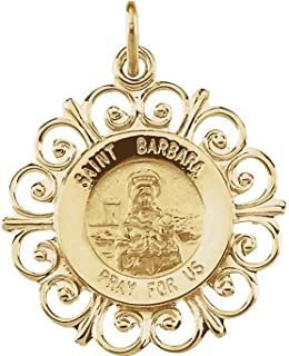 14k Yellow Gold Round St. Barbara Medal (18.5 MM)