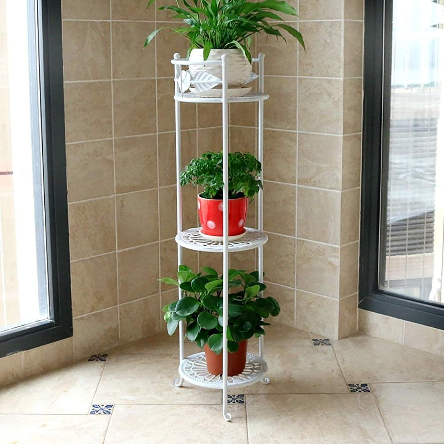Shiyanghang Outdoor Indoor Display Plant Stand Wrought Iron Flower Shelf Multi-Layer Floor Balcony Indoor Living Room Space to Spend (color   White, Size   26×78cm)