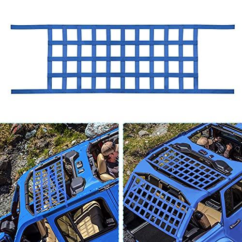 ONE250 Cargo Mesh Heavy Duty Net, Roof Top Hammock or Rear Trunk Restraint Baggage Cover for Jeep Wrangler TJ JK JKU JL JLU YJ Sahara Rubicon Unlimited 1987-2020 2 Door 4 Door (Blue)