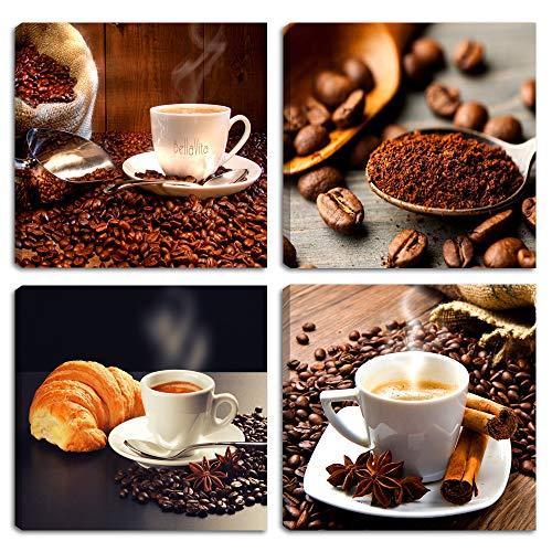 Quadri Moderni CAFFE' 4 pz. cm 30x30 cad. Stampa su Tela CANVAS Caffè Coffee Arredamento Arte Astratto XXL Arredo per soggiorno salotto camera da letto cucina ufficio bar ristorante