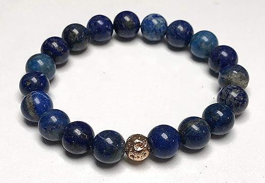 Yoga Bracelet, 5th Chakra Bracelet Lapis Stretch Bracelet