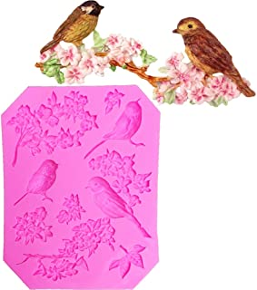 1 piece Bird Flower silicone fondant mold cake decorating tools Roses chocolate stencil moldes de silicona