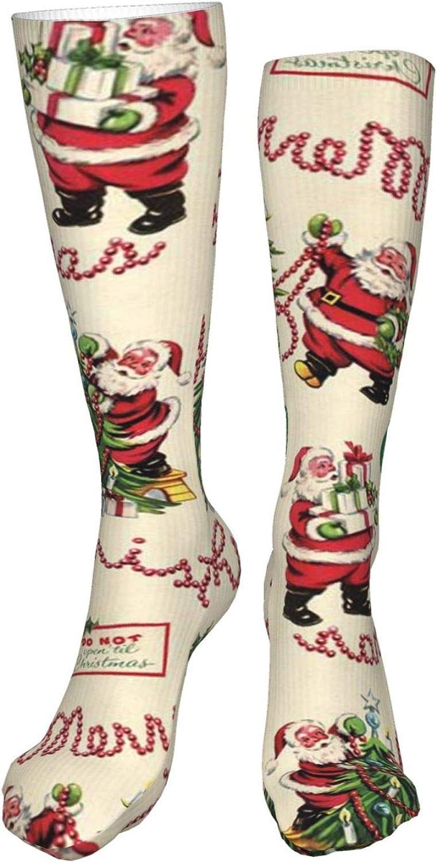 Christmas Vintage Style Women Premium High Socks, Stocking High Leg Warmer Sockings Crew Sock For Daily And Work