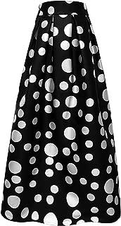 Women's White Contrast Polka Dot Print Maxi Skirt