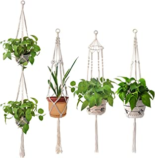 Moyeno 4 Pack PlantHangersIndoor MacramePlantHangers, Pure Cotton Handmade Hanging Plant Holder Indoor Plants Bohemian Decor for SucculentPlants with Hooks,41inch,66.9inch