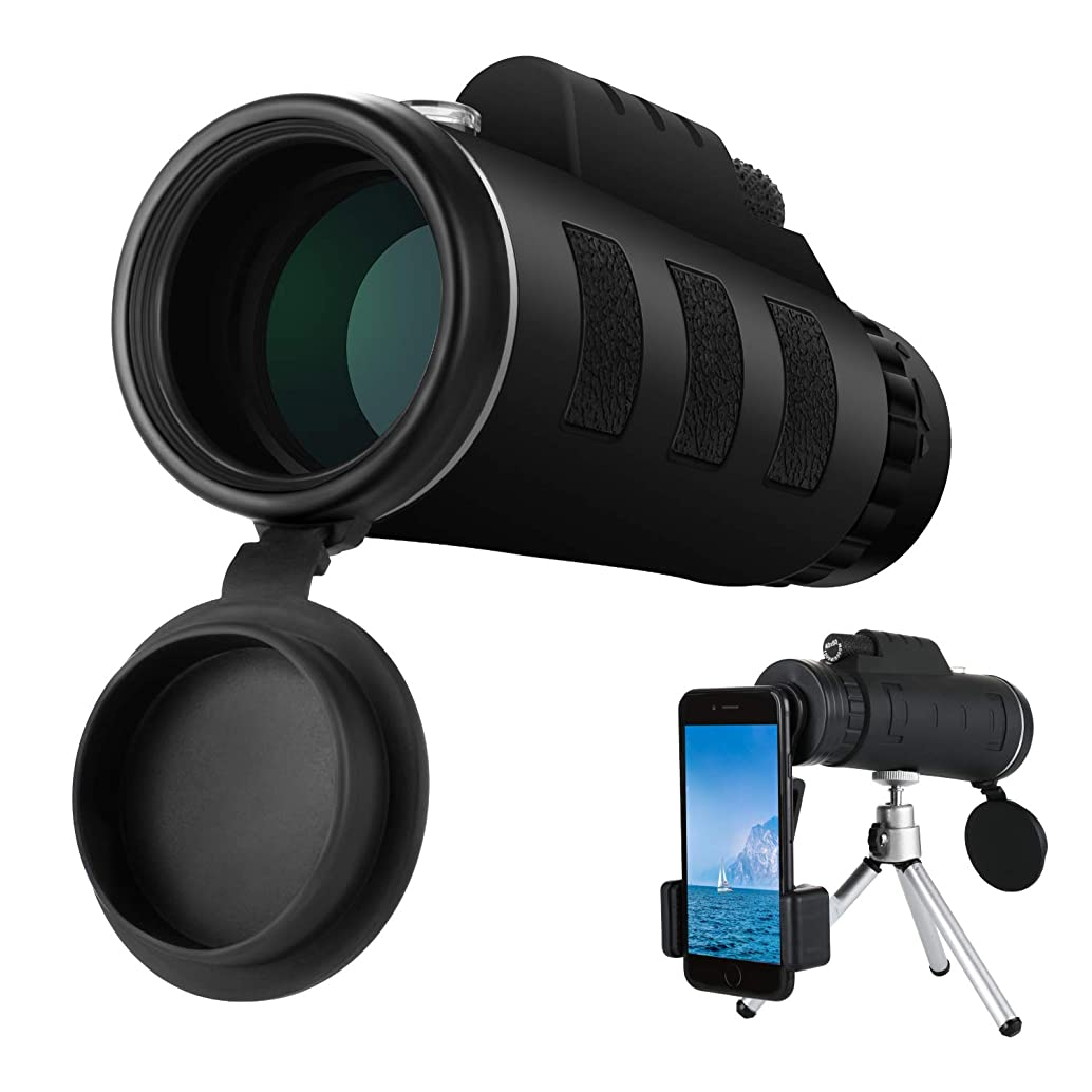Monocular Telescope, 40x60 High Powered Magnification HD Monocular Scope with Phone Holder and Tripod - BAK4 Prism and Low Night Vision for Bird Watching, Hunting, Travel