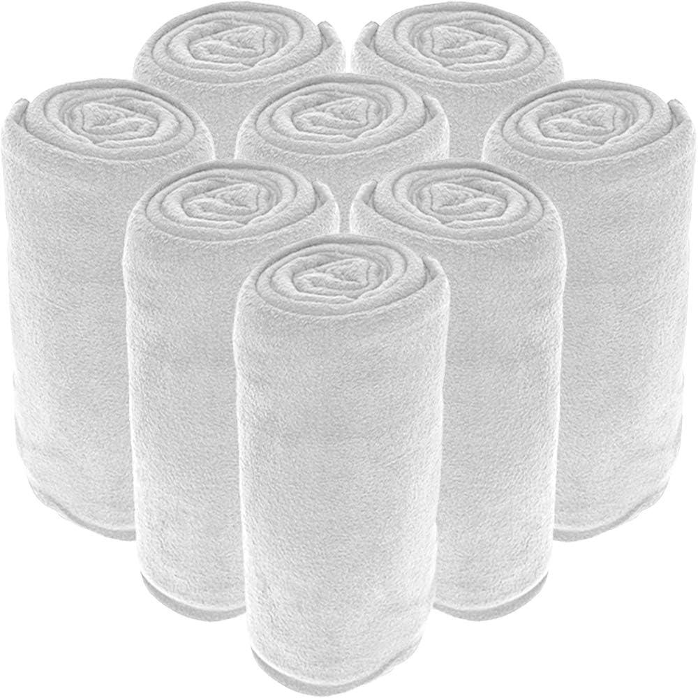16 Pack Microplush Blankets - Ultra-Soft Velvet - Luxurious Fuzzy Fleece Fur - All Season Premium Bed Blanket - Wholesale Bulk Pack (Twin/Twin XL, White)