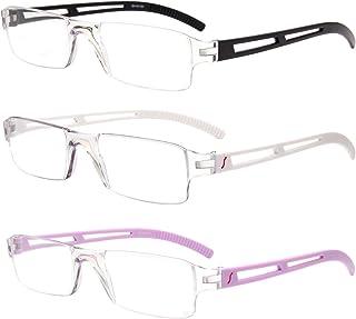 6f68ad17e91f LianSan Designer 3 Pairs Rimless Reading Glasses Men Women Rectangle  Fashion Portable Readers with Case 1.5