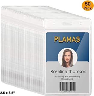 PLAMAS Vinyl ID Badge Holders (Fit 2.5 x 3.5 inch Inserts, 50 Pack), Waterproof, Clear Plastic, Premium Quality, Heavy-Duty, Vertical Hanging Card Holder with Zipper, Durable Nametag Holders