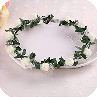 Sale Plant Hot Women Girl Bride Hair Wreaths Flower Headband Rose Crown Forehead Floral Band For Party Wedding Hand Wreath,06