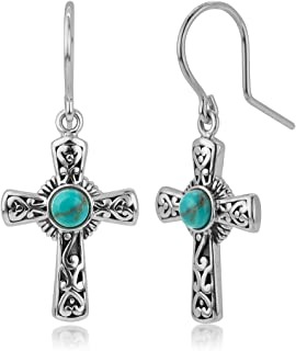 925 Oxidized Sterling Silver Filigree Cross Simulated Turquoise Stone Dangle Hook Earrings 1.3
