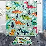 JSTEL Funny Dinosaurier Cartoon Badezimmer 3-teilig, maschinenwaschbar für den täglichen Gebrauch, inkl. 152,4x 182,9cm Wasserdicht Duschvorhang, 12Dusche Haken & 1Anti-Teppich Carpet–Set