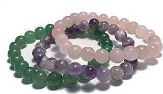 Ollie West 3 Real Crystal Bracelets - Rose Quartz, Amethyst & Jade - 8mm Crystal Beaded Bracelets - Stretch Bracelets