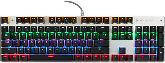 TEAMWOLF 104-Key Water-Resistant Mechanical Gaming Keyboard Wired Equipped with LED Lights Aluminum and Multi Color Optional Black