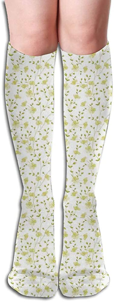 Men's and Women's Funny Casual Combed Cotton Socks,Flowers Pattern Botanical Cheering Sunny Day Simple Ornamental Illustration