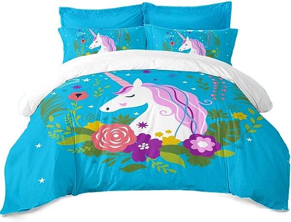 JSTextiles Unicorn Bedding 3 Piece Duvet Cover Cartoon Unicorn Full Size 80 X90 Cute Quilt Cover Bedding Set For Teens Gift NO Comforter