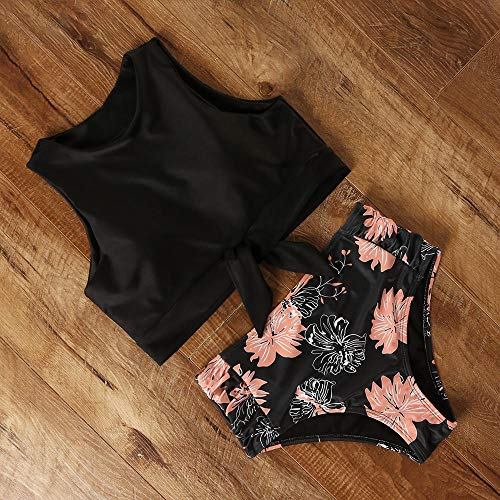 Zomer Dames Printing Shaping-zwempak, gestreept dameszwempak met hoge taille, bloemenluipaard-coltrui-bikini, badpak met geschulpte dames