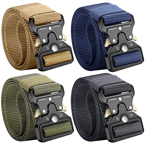 Clobri Tactical Belt, 4 Pack Military Style Belts for Men, 49