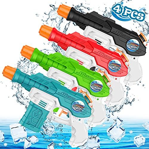 AOLUXLM Juguete Pistola De Agua NiñOs,Pistola PequeñA,para Al Aire Libre, Piscina, Fiesta,Chorro Verano Juguetes Juego NiñOs Adultos(4pcs)