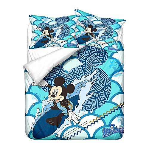 Probuk Juego de ropa de cama de Mickey Mouse, 100 % microfibra, funda nórdica para niños y niñas, con funda de almohada (A-08,135 x 200 cm (80 x 80 cm)