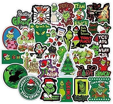XXCKA cómo el Grinch robó Navidad Dibujos Animados Vacaciones Pegatina PVC Graffiti Pegatina Maleta Equipaje Guitarra Impermeable 50 Hojas