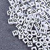Letras de Perlas, 500 piezas Perlas de Artesanía de 6 mm con Letras Negras Perlas de Cubo de A-Z para Roscar, Fabricación de Joyas para Pulseras de Bricolaje Collares (Carta Mixta)