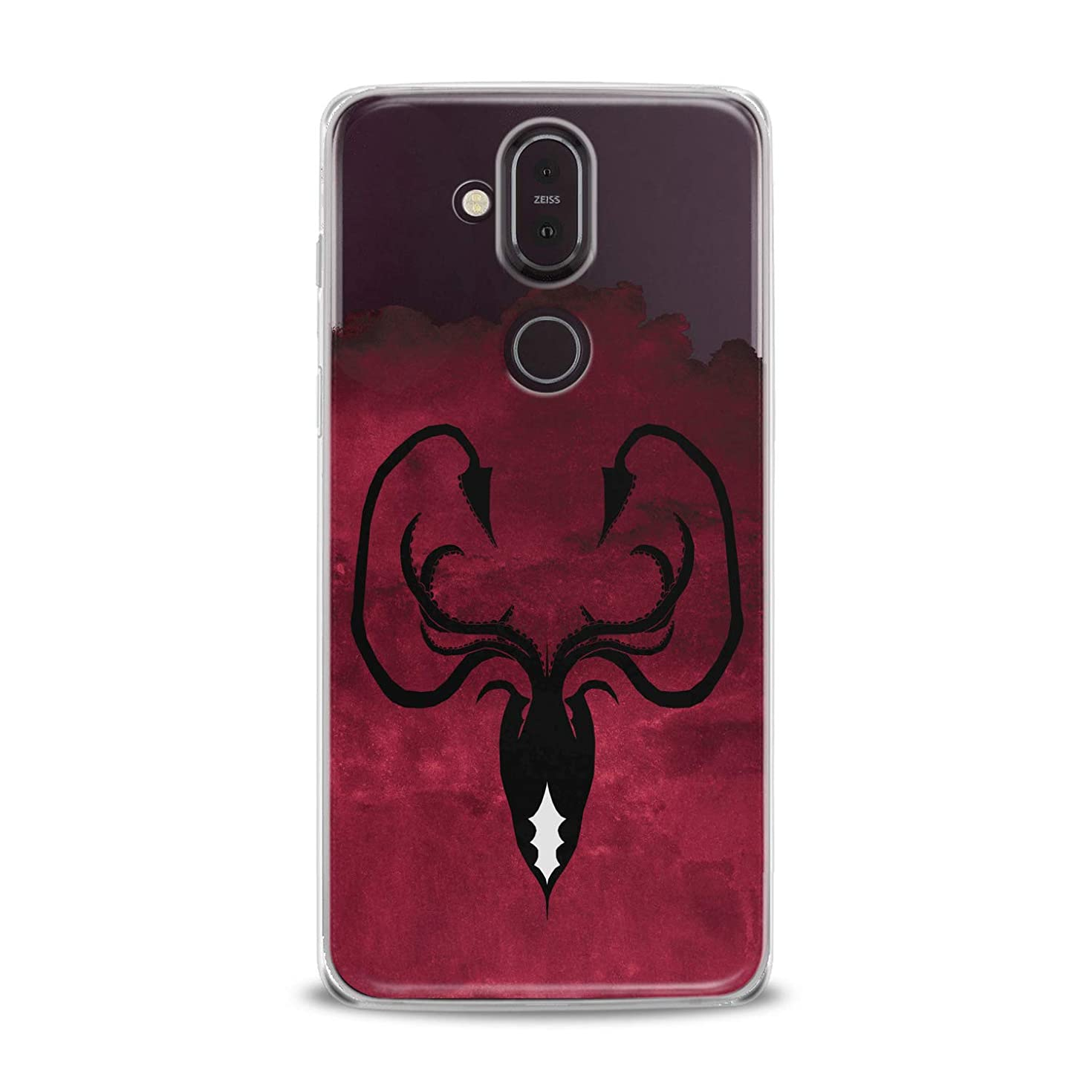 Lex Altern TPU Case for Nokia 9 PureView 8.1 Plus 7.1 6.1 X6 5.1 3.1 Greyjoy Flexible Octopus Symbol Gift Smooth Black Print Slim fit Game of Thrones Cover Soft Clear Red Design Kingdoms Lightweight