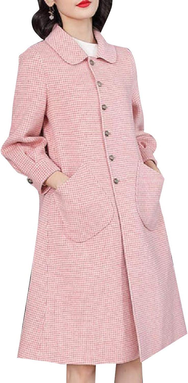 FieerWomen Audrey Hepburn Houndstooth Wollen Trench Coat Jacket