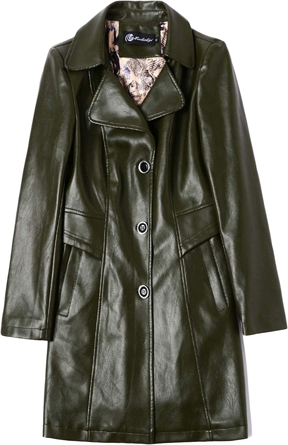 Gihuo Max 70% OFF Women's Warm PU Leather Swing [Alternative dealer] Jacket Long Trench Coat