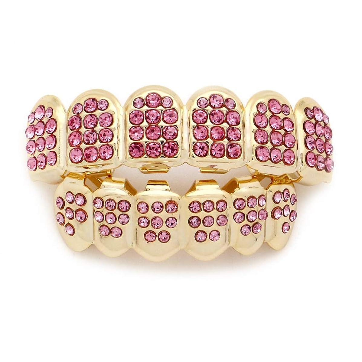 視聴者ストロークで出来ているダイヤモンドゴールドプレートHIPHOPティースキャップ、ヨーロッパ系アメリカ人INS最もホットなゴールド&ブラック&シルバー歯ブレース口の歯 (Color : Pink)
