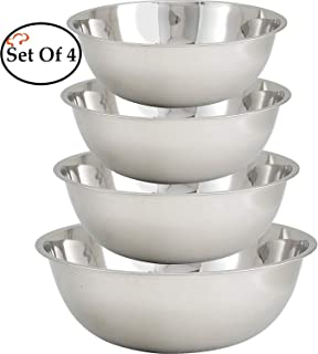 Tiger Chef Large Stainless Steel Standard Weight Mixing Bowls Set, Mirror Finish - Set Includes 13, 16, 20, and 30 Quart.