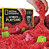 NATIONAL GEOGRAPHIC Play Sand - 6 LBS of Sand with Castle Molds (Red) - A Kinetic Sensory Activity