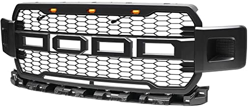 Front Grille Fits For 2018 2019 Ford F150 Raptor Style Black Honeycomb Grill with Conversion Letters (No Side LED)