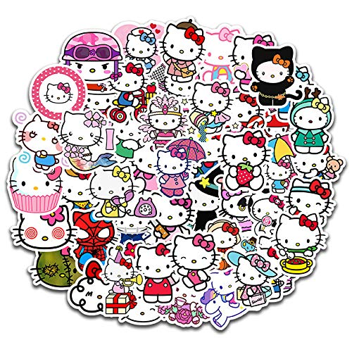 Stationery Stickers Hello Kt Cat Cute Cartoon Graffiti Waterproof Notebook Suitcase Helmet Stickers 50pcs