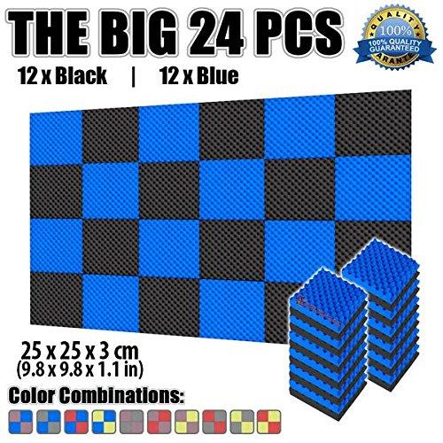 Super Dash Pacco da 24 di 25 X 25 X 3 cm Eggcrate Schiuma Fonoassorbenti Isolanti Studio Acustici Parete Piastrelle Pannelli SD1052 Blu e Nero