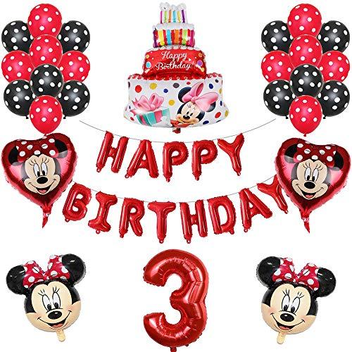 ENXI Globos 1set Disney Minnie Mickey Mouse Party Globos Baby Shower Fiesta de cumpleaños Decoraciones para niños Globos Infantiles Boy Girls Supplies ( Color : Red3 )