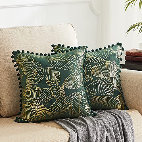 OMMATO Green Velvet Cushion Covers 20x20 Inch Square Gold Leaves Decorative Throw Pillow Covers for Sofa Bedroom Living Room 50cm x 50cm Pack of 2